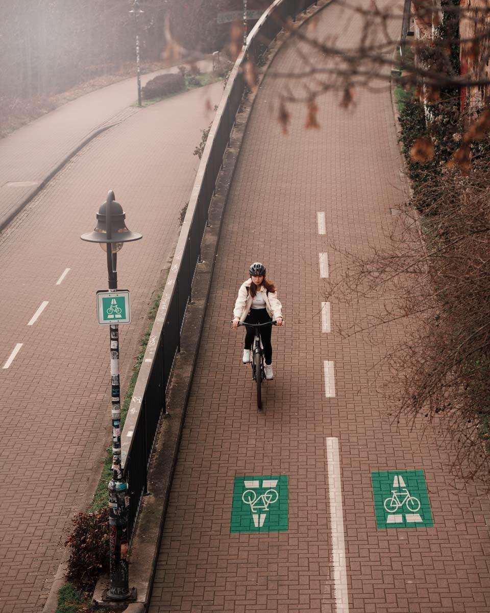 Fahrradschnellweg in Leipzig