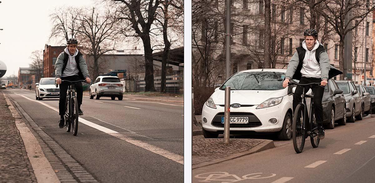 Radstreifen und Schutzstreifen neben der Fahrbahn